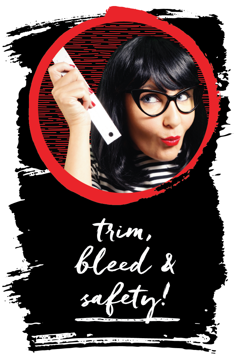 trim, bleed & safety! Click through to get your FREE PRINTABLE that already has the bleed and safety guides marked in their own layer in Illustrator! ~graphics grrrl