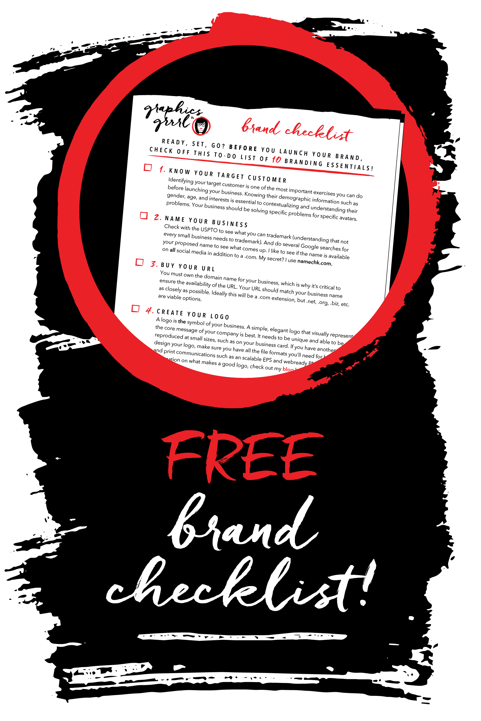 trim, bleed & safety! Click through to get your FREE 10-point brand checklist with everything you need to before launching your brand!~graphics grrrl